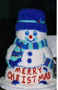 3-D Snowman in Blues